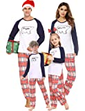 Aibrou Pijamas de Navidad, Conjunto de Pijamas Familiares Navideñas Manga Larga Pijama Familiar a Juego Navidad, Cuello…