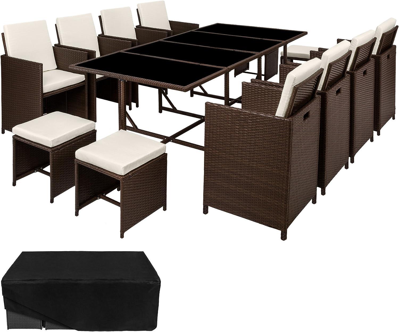 TecTake Conjunto muebles de jardín en ratán sintético comedor juego 8+4+1 + funda completa | tornillos de acero inoxidable | (Marrón mixto | No. 402101): Amazon.es: Jardín
