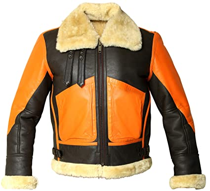 e793b05d6a B3 RAF Two Tone Bomber Real Shearling Sheepskin Leather Flight Jacket (S)  Brown and