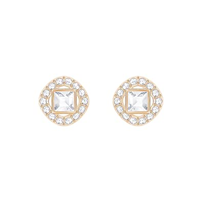 c5a225ddf2e7b Swarovski Angelic Square Pierced Earrings, White, Rose gold plating