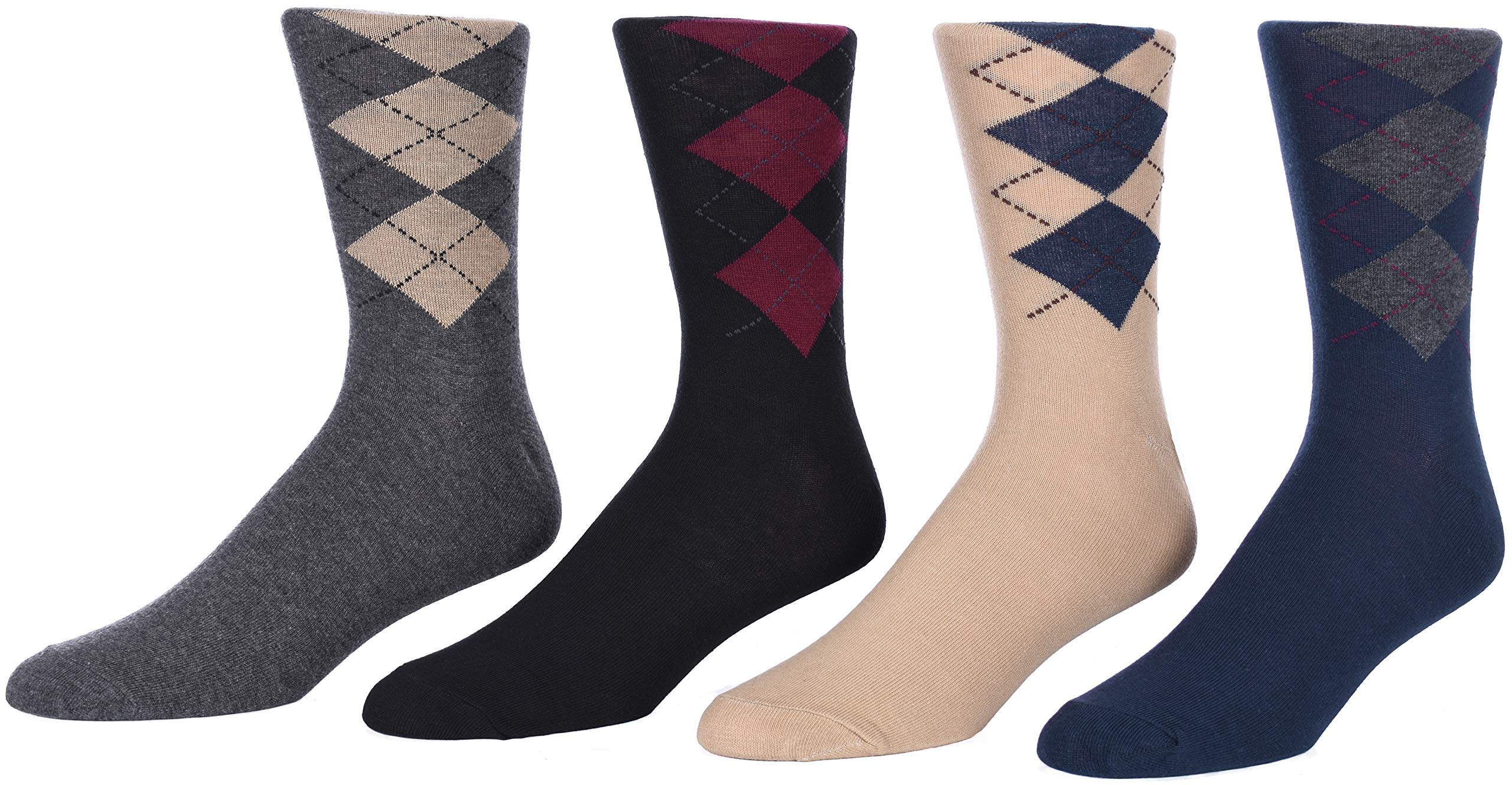 Men's Argyle Dress Socks Multi-Color 4-Packs in Large and Small Print Designs (6-12, 4 Pack B - Large Print)