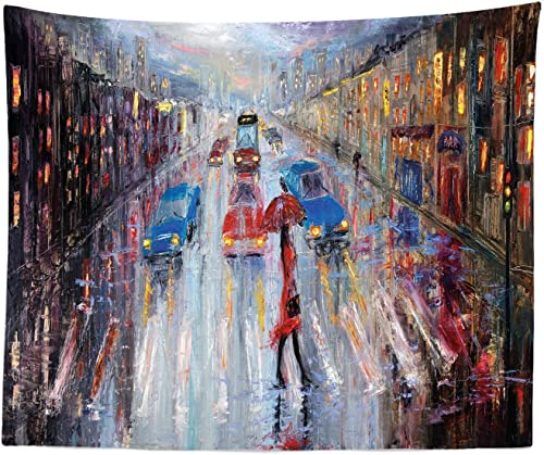 Ambesonne Oil Painting Tapestry King Size, Young Woman with Umbrella Crossing City Street in Rain Modern Impressionism, Wall Hanging Bedspread Bed Cover Wall Decor, 104 X 88 , Multicolor