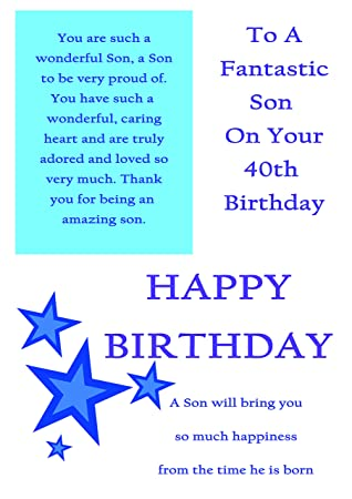 Son 40th Birthday Card With Removable Laminate