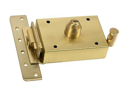 Inceca 36712 - Cerradura de sobreponer contra palanca, doble cilindro, lateral izquierda (acero