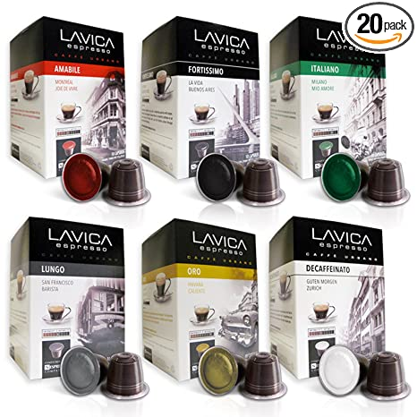 ESPRESSO VARIETY PACK (100 Count) Lavica Discovery Series Nespresso Compatible Coffee Capsules: Amazon.com: Grocery & Gourmet Food