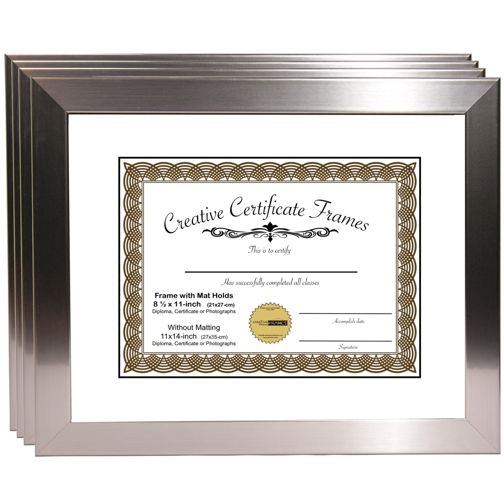 CreativePF [Y8SH-11x14ss-w] Stainless Steel Document Frame Displays 8.5'' by 11'' with Mat or 11'' by 14'' Certificate, Graduation, University, Diploma Frames with Stand & Wall Hanger (Pack of 4) by Creative Picture Frames