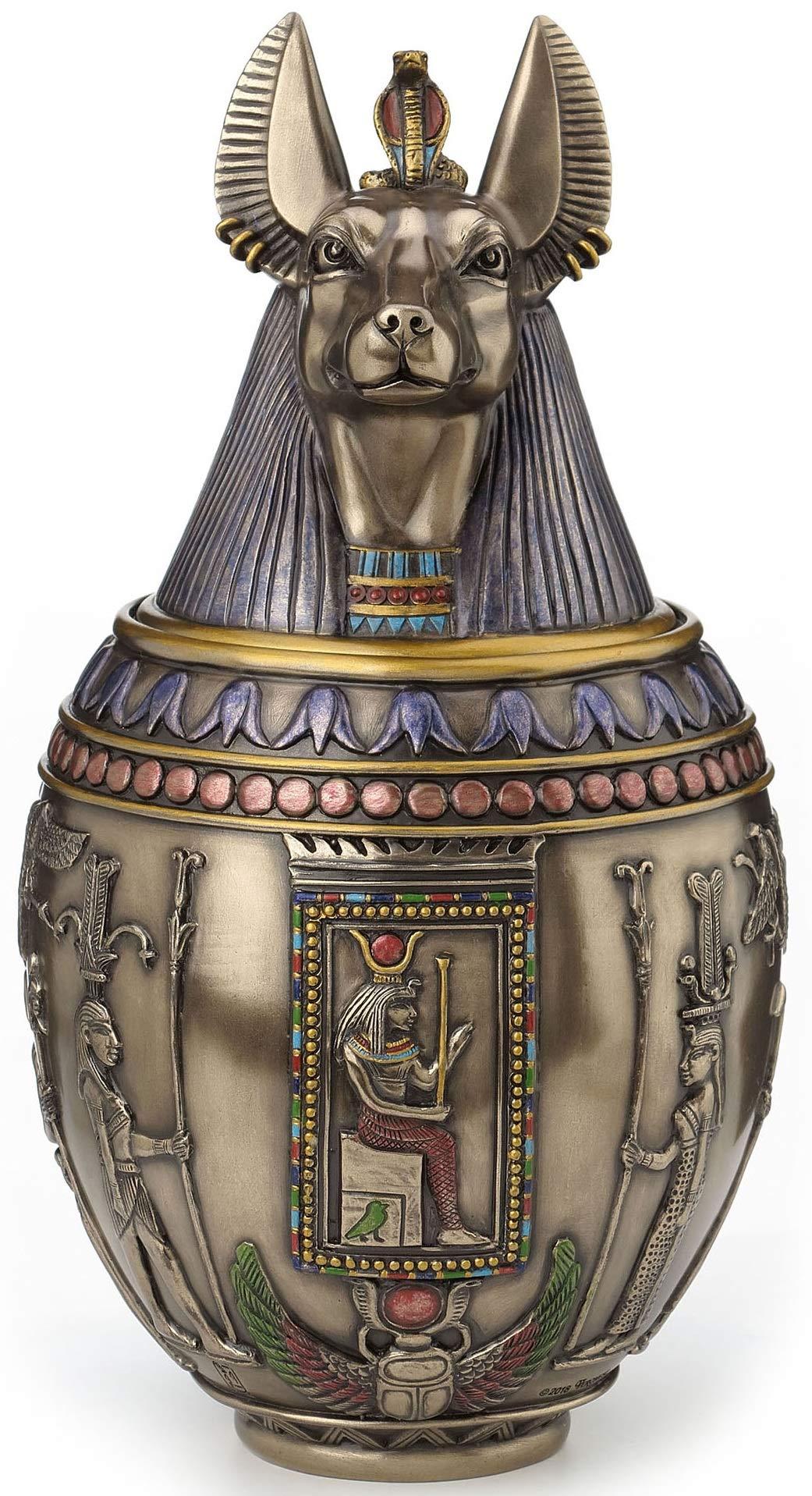 Rare Egyptian Anubis Dog Memorial Urn Canopic Jar