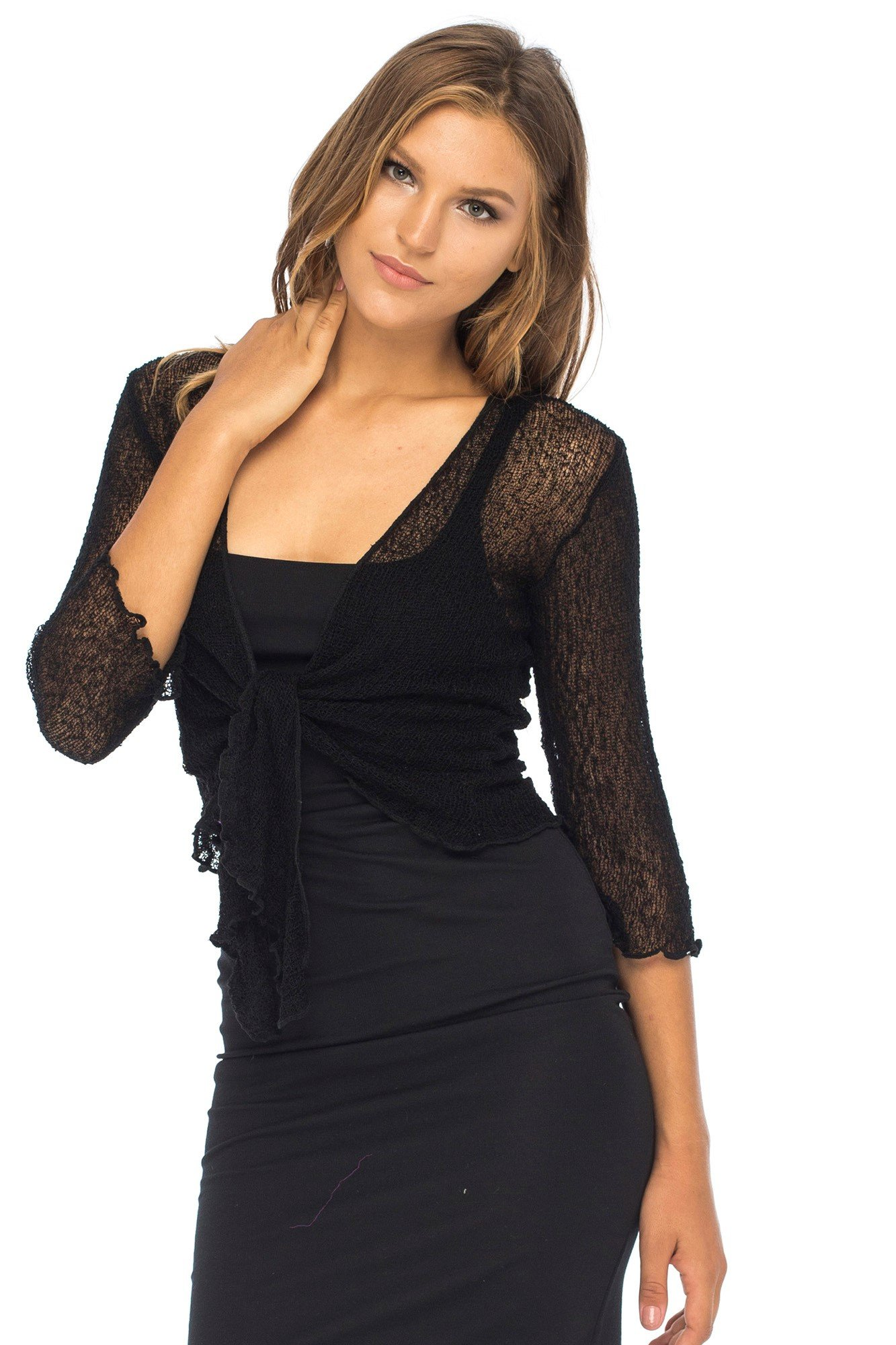 Back From Bali Womens Lightweight Knit Cardigan Shrug Lite Sheer Black