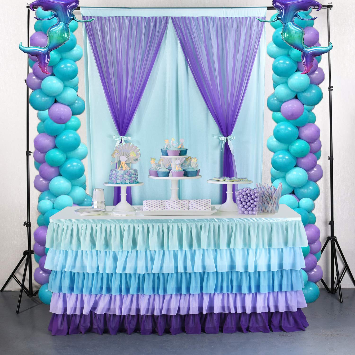 14FT Mermaid Tulle Table Skirt Chiffon Tutu Table Skirting for Rectangle Table or Round Table for Wedding,Birthday Party,Home Decoration, Baby Shower (L167inH30in) by Tao-Ge
