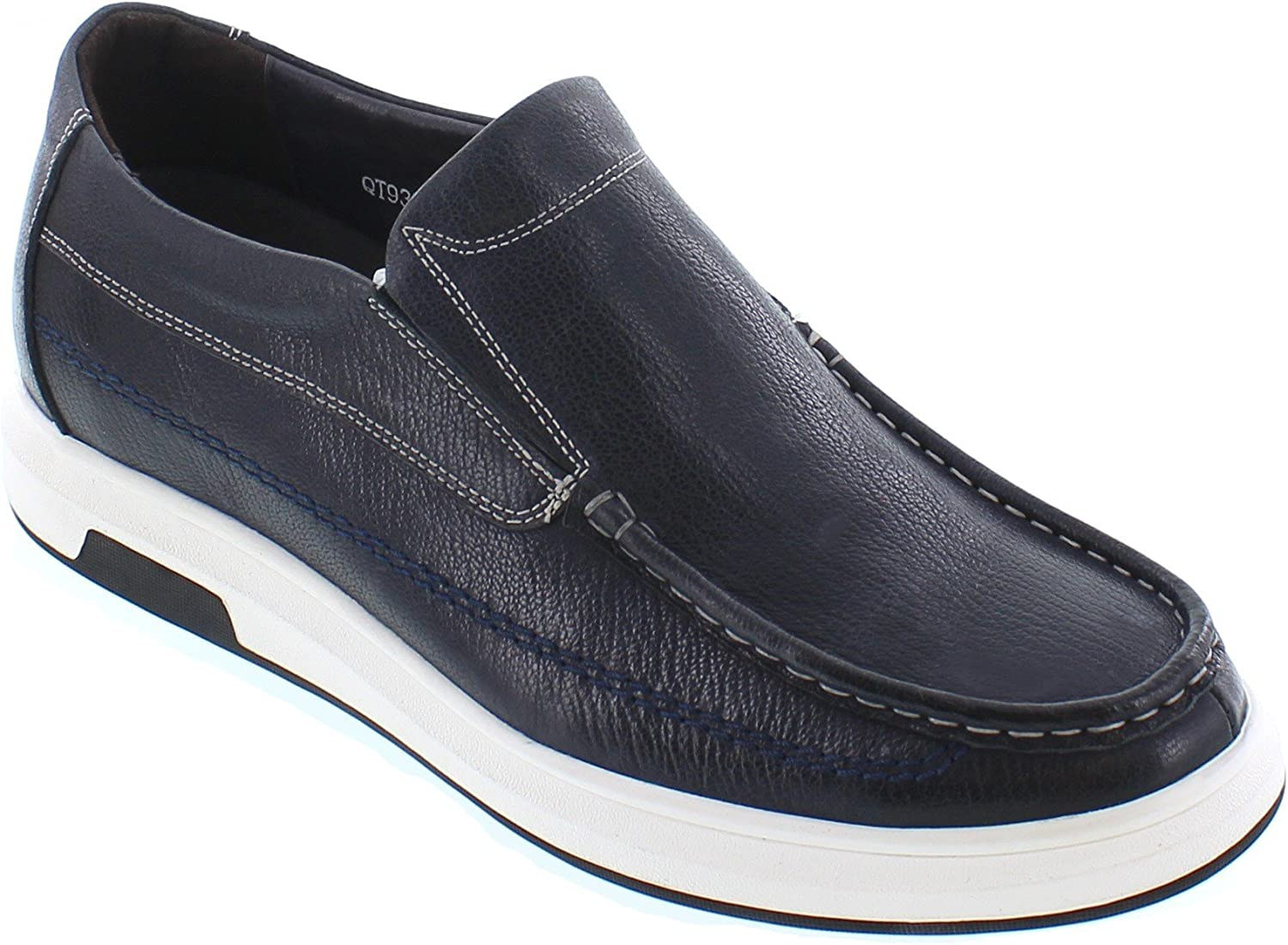 CHAMARIPA Mens Invisible Height Increasing Elevator Shoes-Black Casual Slip on Loafers Genuine Leather Breathable Driving Shoes Slipper-2.36 inches Taller