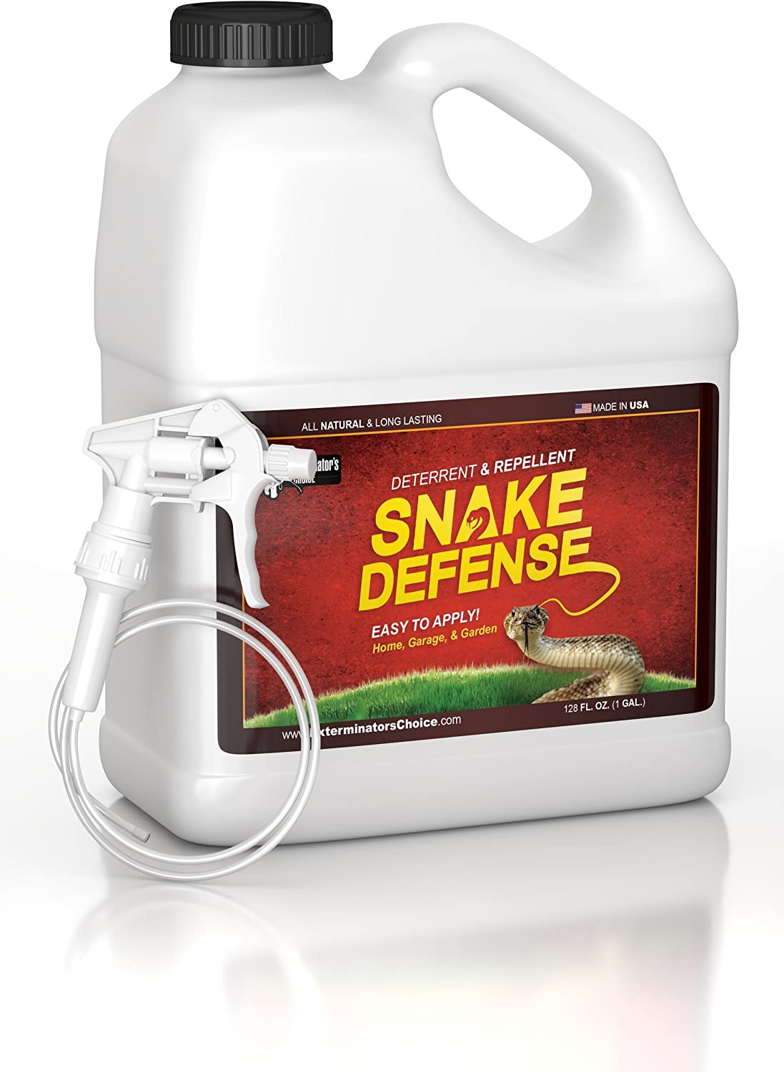 Snake Defense Natural Snake Repellent - Effective and Safe Spray one Gallon with Remote sprayer for Easy to Use Application| For All Types of Snakes| non venomous and venomous