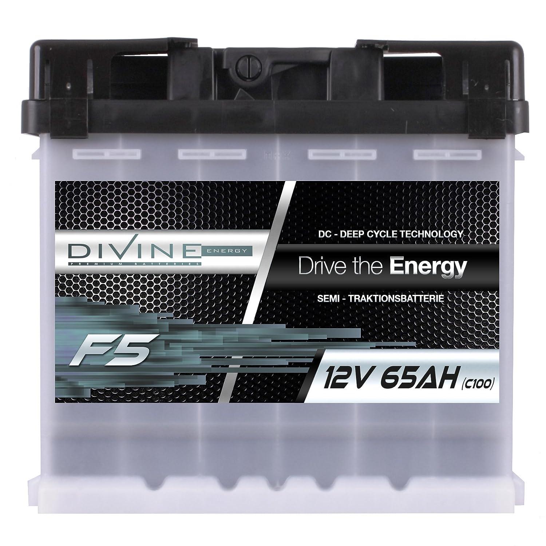 Divine 12V 65Ah Solarbatterie Mover Versorgungsbatterie Wohnmobil Boot Marine Camping Batterie Wartungsfrei