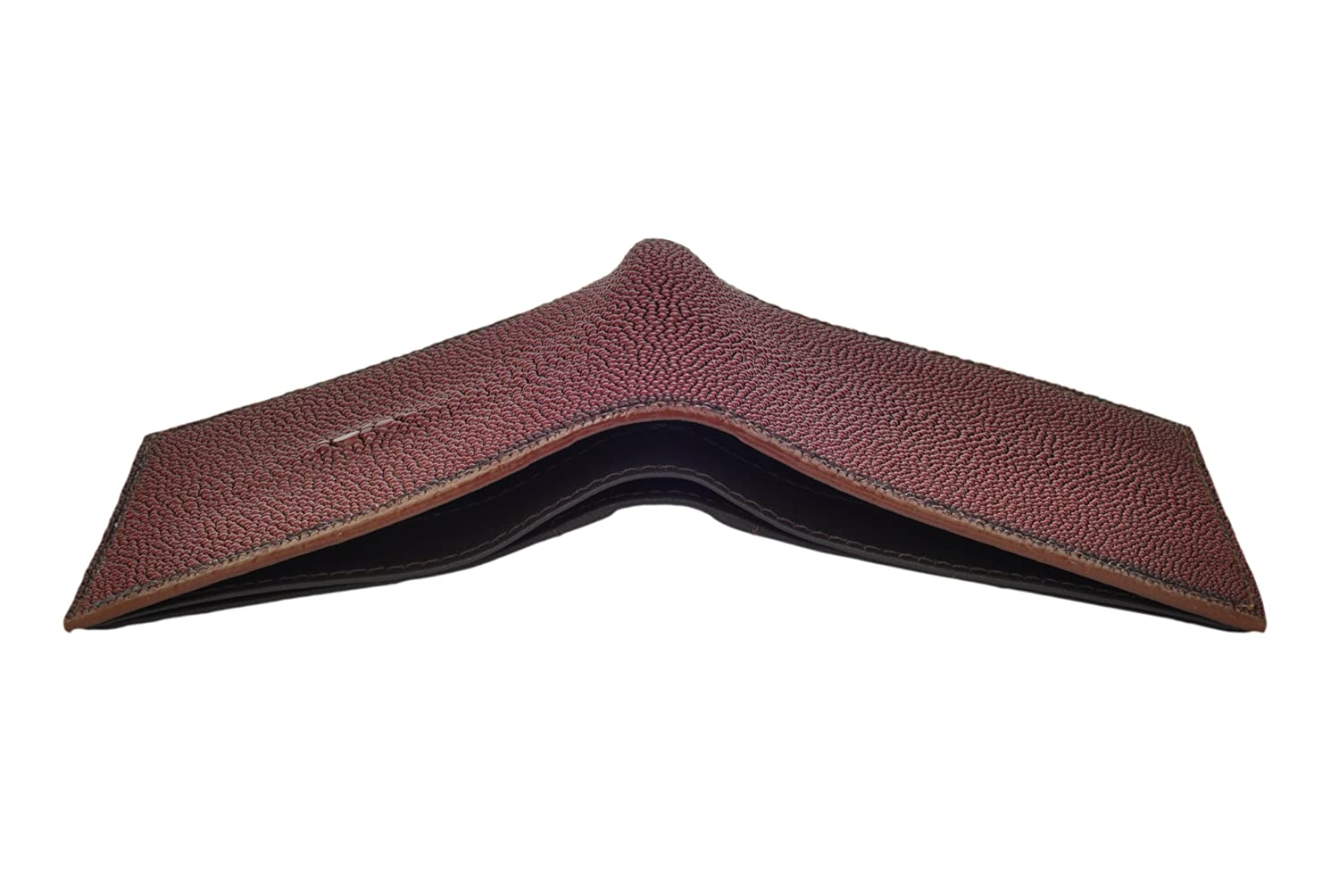 Stingray Leather Wallet 6 Credit Card Slots BiFold Brown
