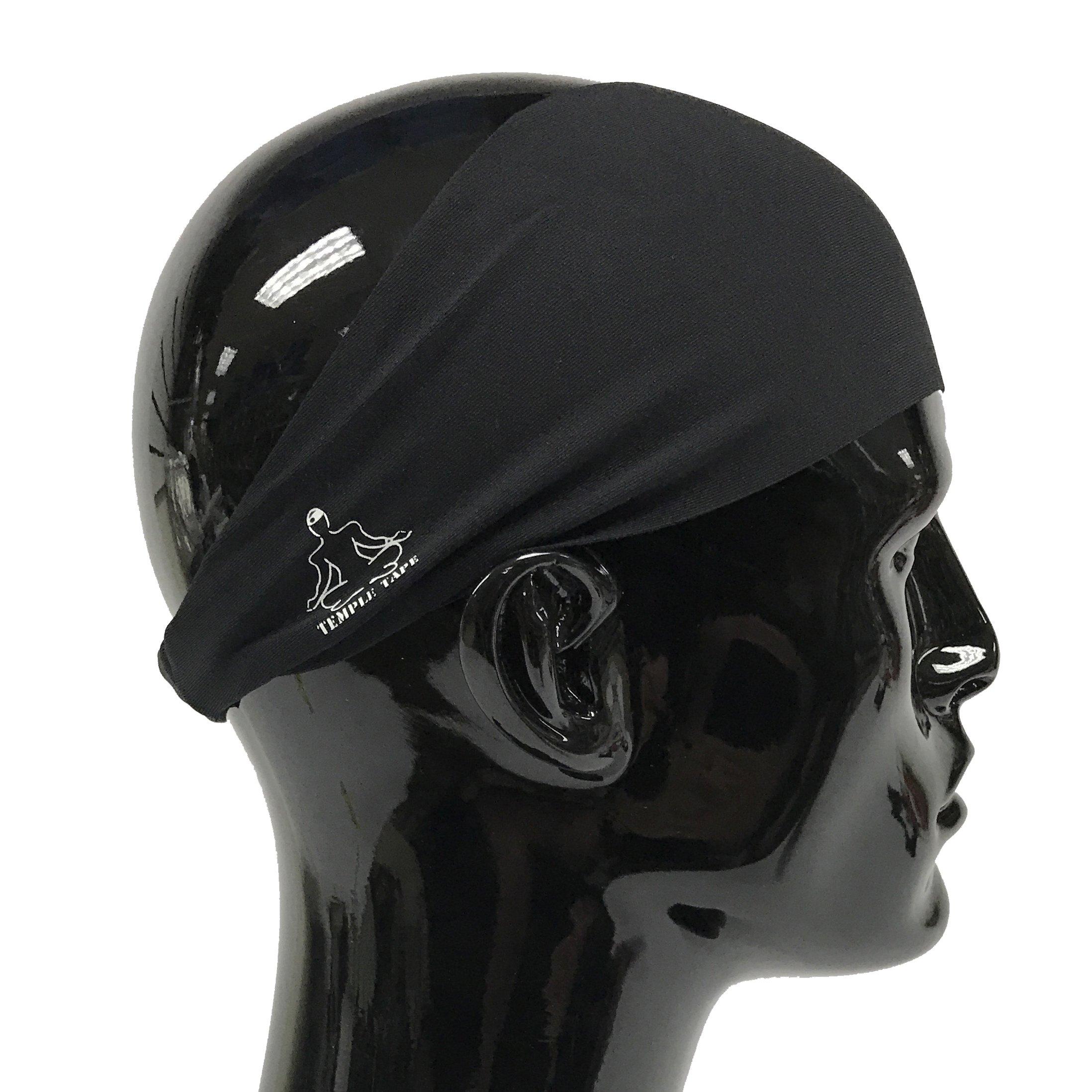 Temple Tape Headbands for Men and Women - Mens Sweatband & Sports Headband Moisture Wicking Workout Sweatbands for Running, Cross Training, Yoga and Bike Helmet Friendly - Black