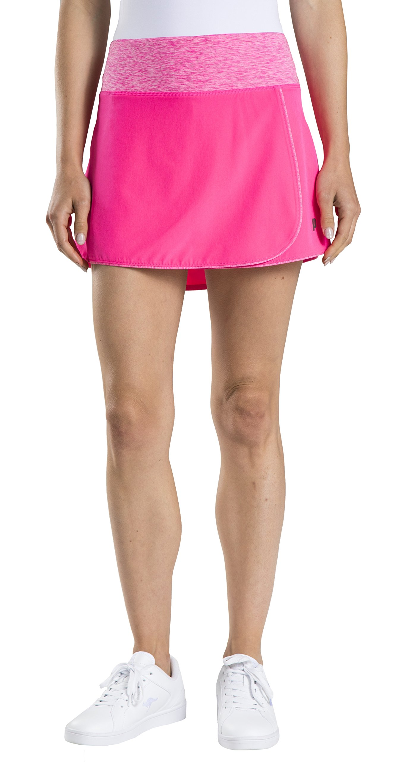 Prince Women's Stretch Woven Wrap Tennis Skort, Cosmos Pink/Heather, Large