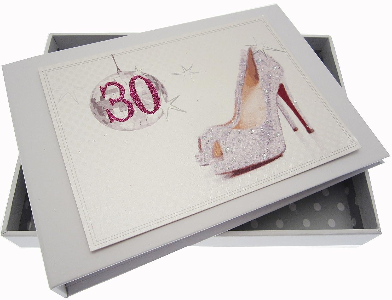 Tarjetas de algodón blanco trigésimo cumpleaños de la bola y ...