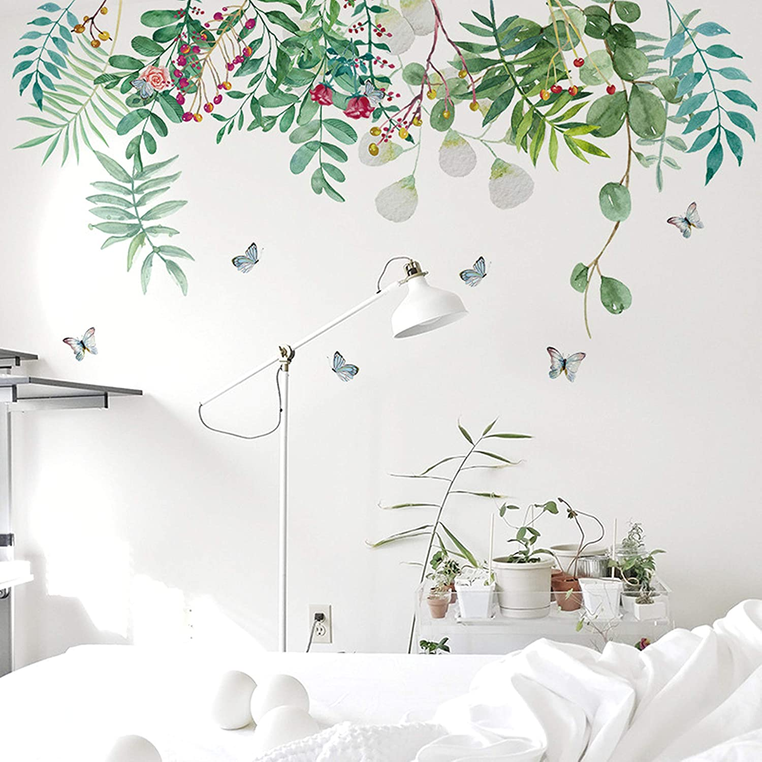 Rofarso Nature Green Plants Fresh Leaves Vinyl Wall Stickers Removable Pvc Wall Decals Art Picture Decorations Decor For Nursery Baby Boys Girls Bedroom Playroom Living Room Murals Kids Furniture Décor Storage