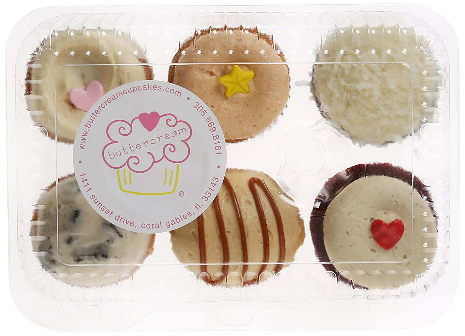 Buttercream Cupcakes, Classic Favorites Miami Style, Standard/6 cupcakes: Amazon.com: Grocery & Gourmet Food
