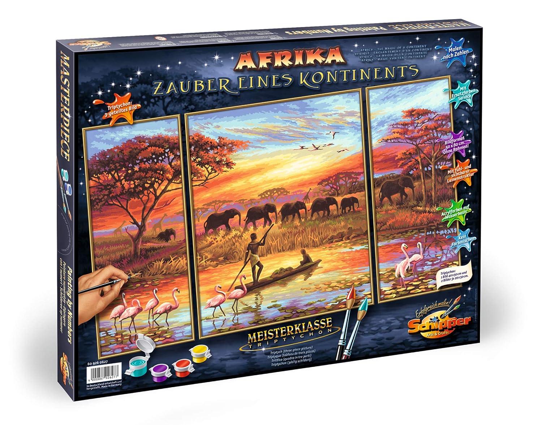 50x80 cm Triptychon Schipper 609260627 609260627-Malen nach Zahlen-Afrika Zauber eines Kontinents