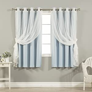 "Best Home Fashion uMIXm Tulle Sheer Lace & Blackout 4 Piece Curtain Set - Antique Bronze Grommet Top - Sky Blue - 52"" W X 63"" L - (2 Curtains and 2 Sheer Curtains)"