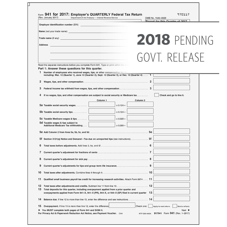 Amazon.com : 2018 Form 941 Federal Quarterly Return - 25 Pack ...