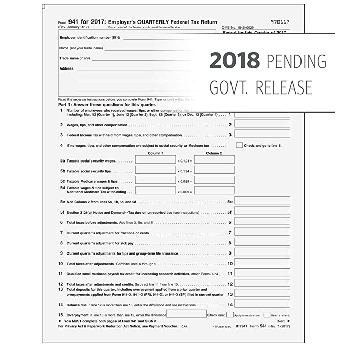 Amazon 2018 Form 941 Federal Quarterly Return 25 Pack