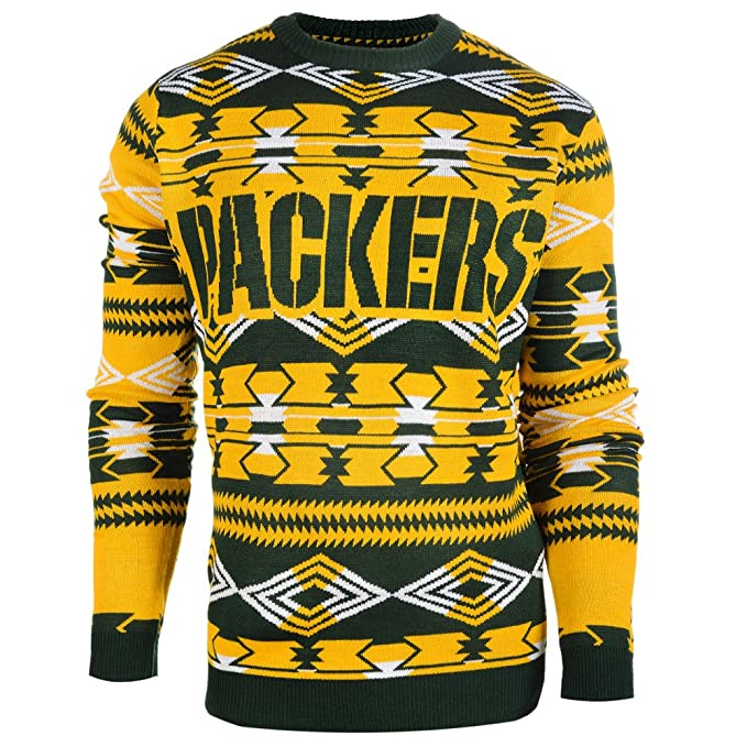 0dffac90 Klew NFL Football 2015 Aztec Ugly Crew Neck Holiday Sweater - Pick Team  (Green Bay Packers, Large)