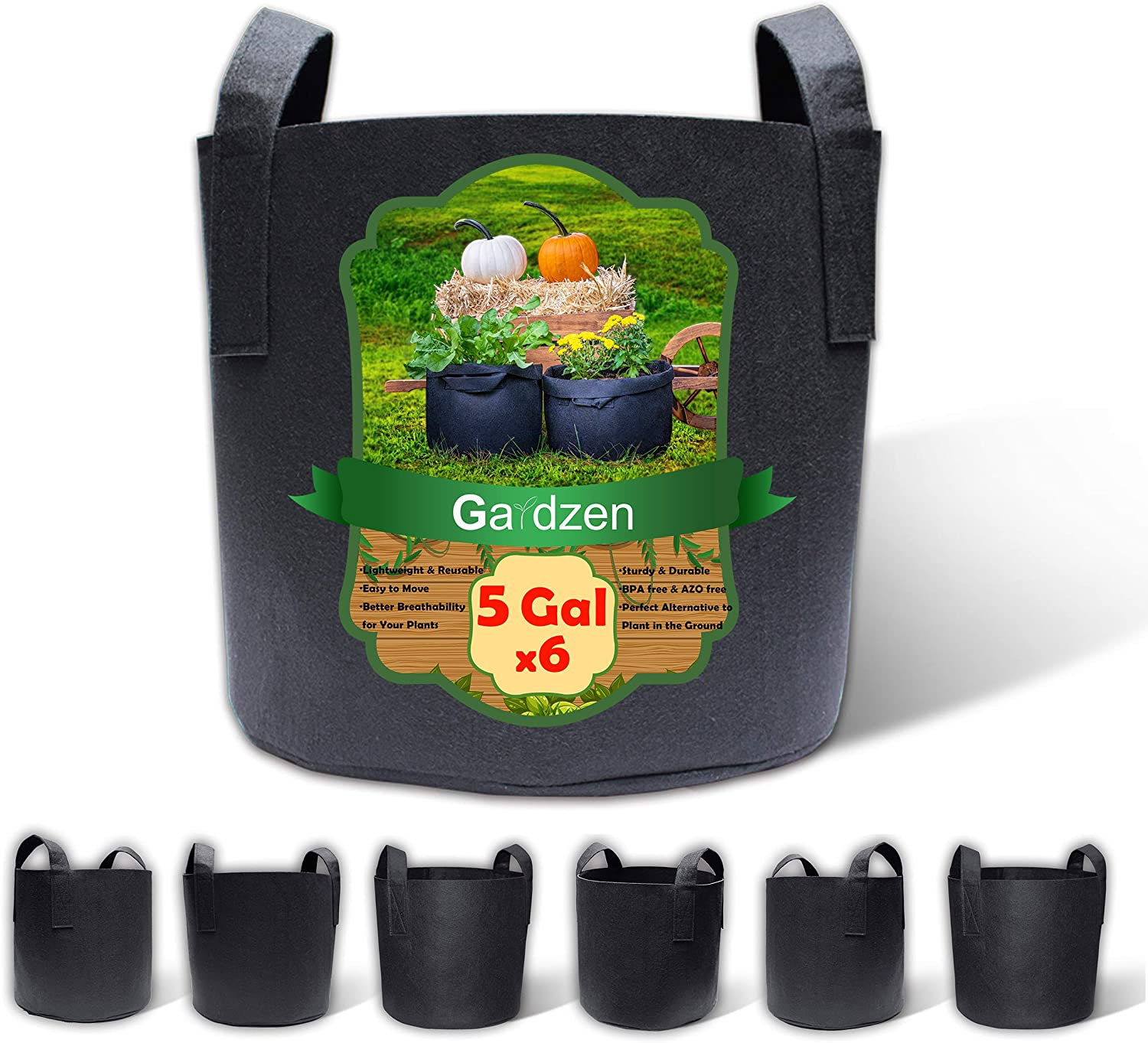 Gardzen 6-Pack 5 Gallon Grow Bags, BPA Free Aeration Fabric Pots with Handles