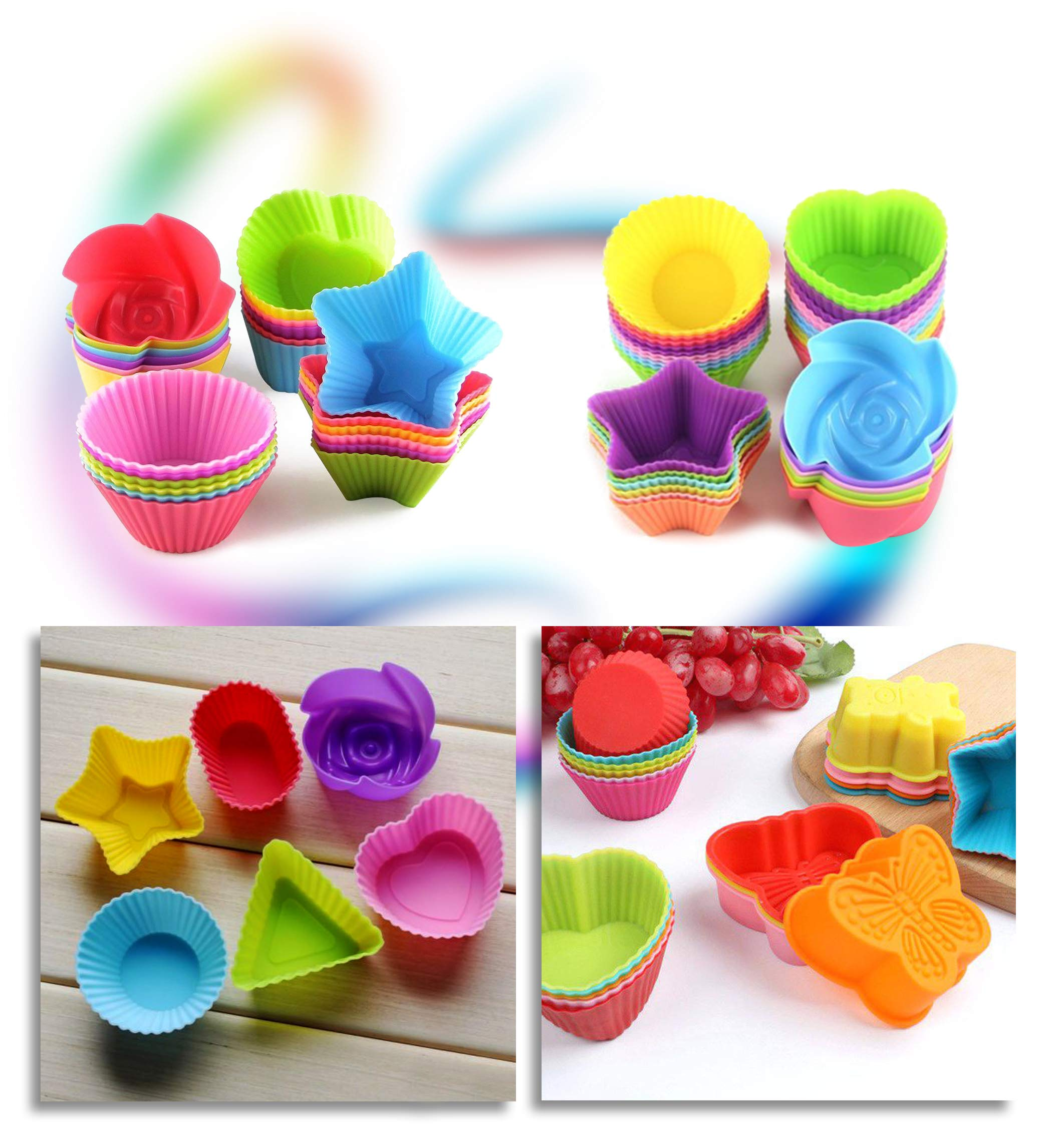 Cupcake Baking Cup Molds Bundle Easy Clean Pastry Liners 48 Nonstick Reusable Silicone Muffin Molds with Icing Pen Cupcake & Cake Decorating Pen Set by Kitchen Krush (Image #5)