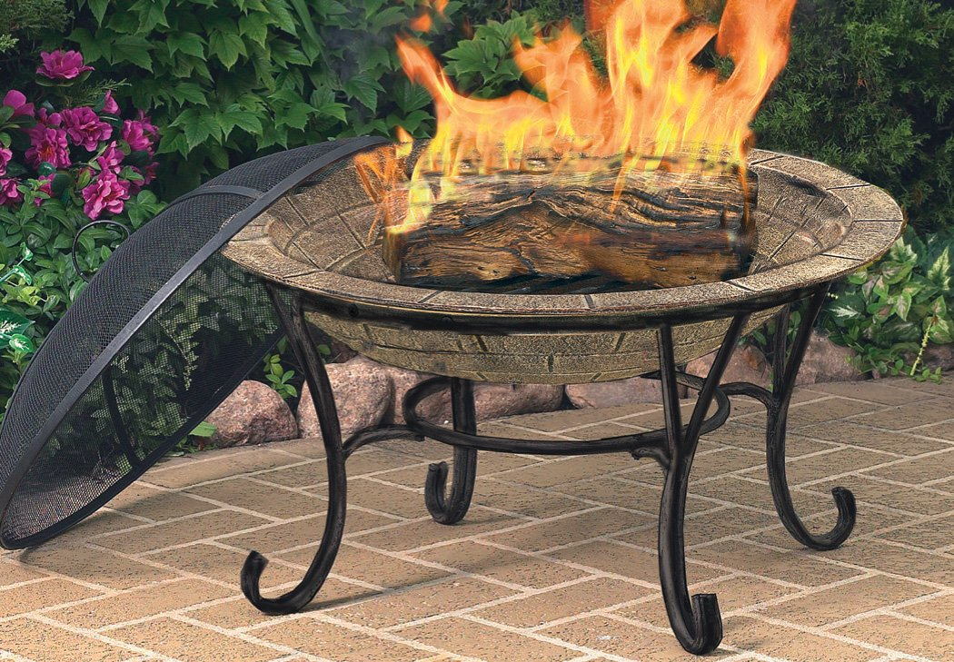 Amazon.com : CobraCo FB6102 Round Cast Iron Brick Finish Fire Pit With  Screen And Cover : Firepit : Garden U0026 Outdoor