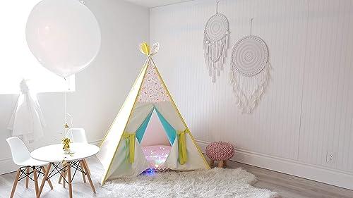 Amazon.com: Kids Teepee Tent Flamingo Pineapple Pink Yellow ...