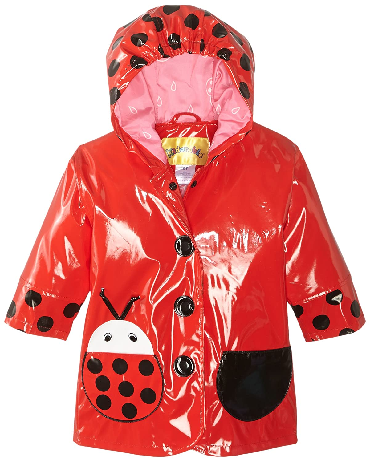 Kidorable Red Ladybug PU All-Weather Raincoat for Girls With Fun Polka Dots and Ladybug Pocket Kidorable- Quarterdeck 399021