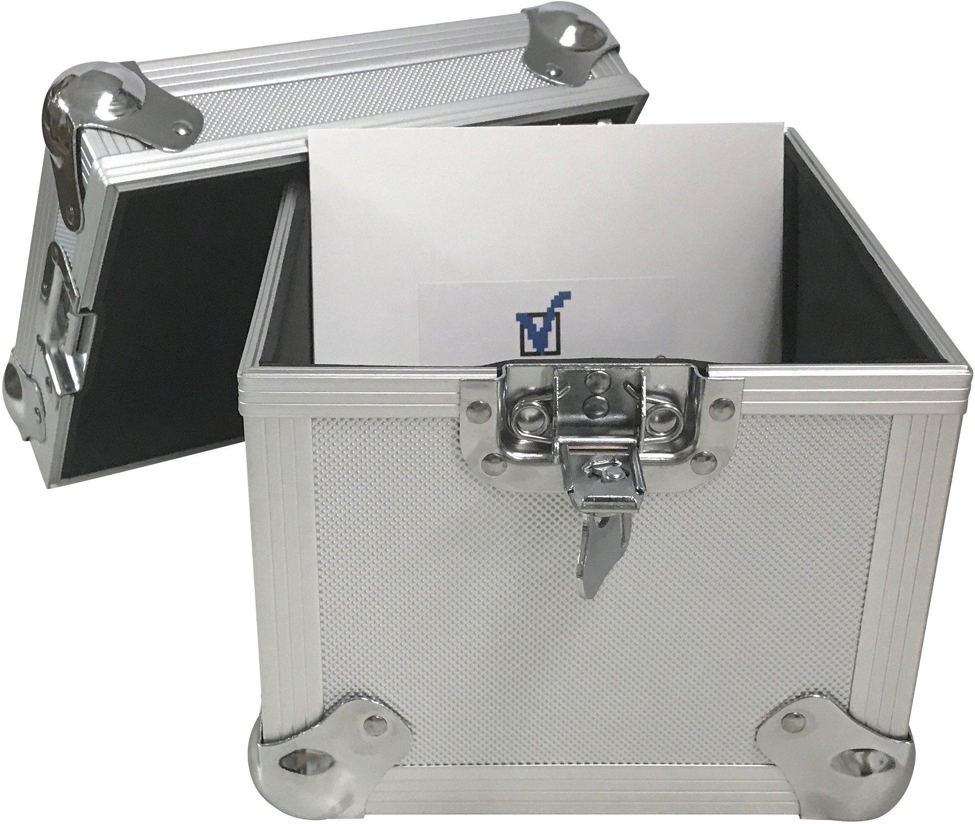 (2) CheckOutStore Aluminum Heavy Duty 7'' LP Vinyl Record Album Storage Box (Silver / Holds 100 Records)