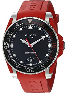 a859a6c0f86 Gucci Quartz Stainless Steel and Rubber Casual Red Men s Watch(Model   YA136309)
