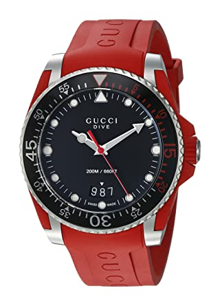 14de03e99cf Amazon.com  Gucci Quartz Stainless Steel and Rubber Casual Red Men s Watch(Model   YA136309)  Gucci  Watches