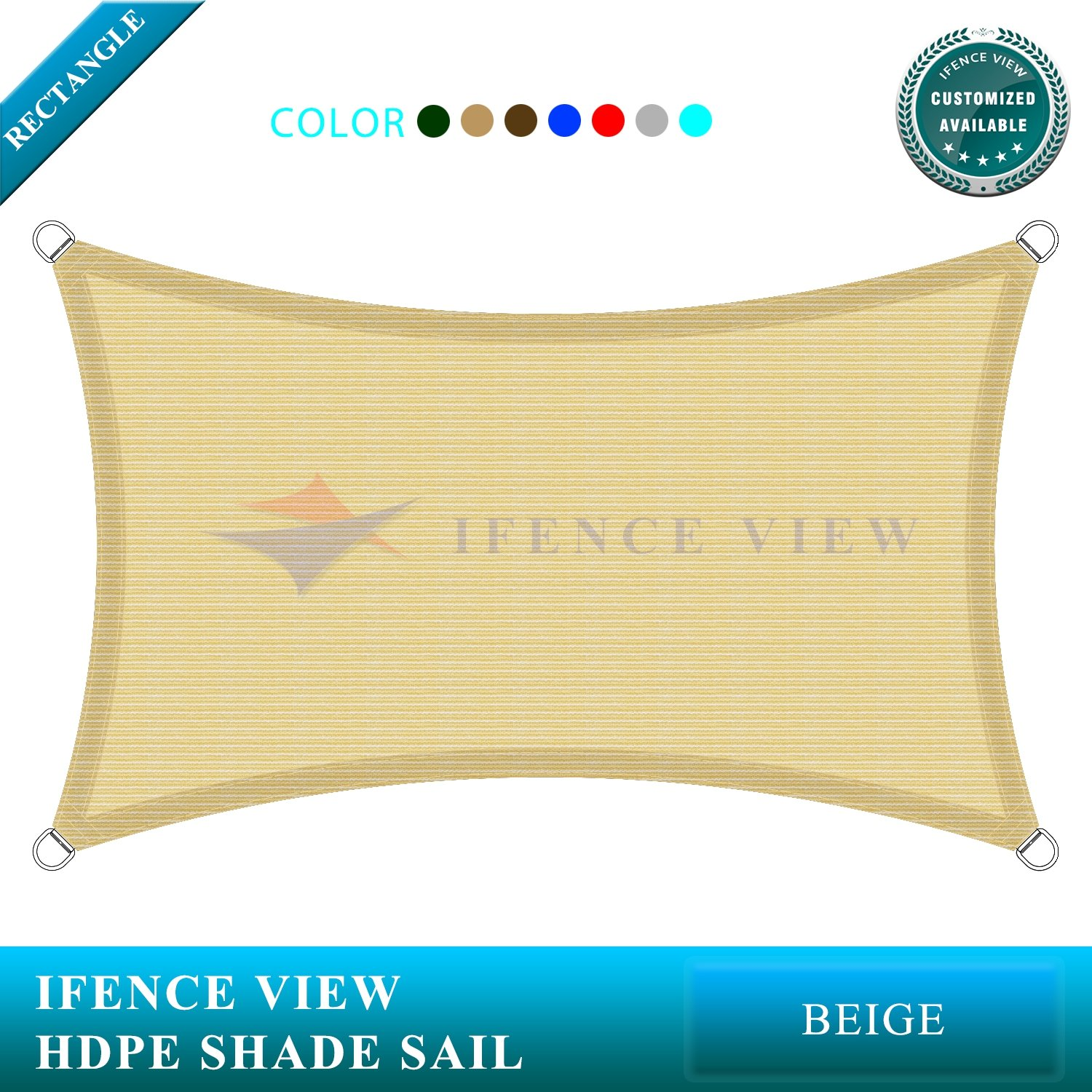 Ifenceview 7 x7 -7 x24 Rectangle UV Blocking Sun Shade Sail Canopy Awning for Patio Yard Garden Driveway Outdoor Facility 7 x 23 , Beige