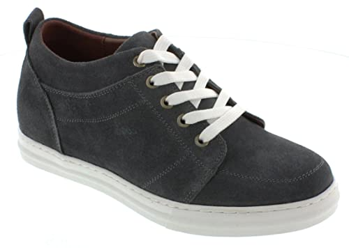58e682f2a85b4 Calden Men's Invisible Height Increasing Elevator Shoes - Charcoal Grey  Suede Leather Campus Lightweight Fashion Sneakers - 2.6 Inches Taller - ...