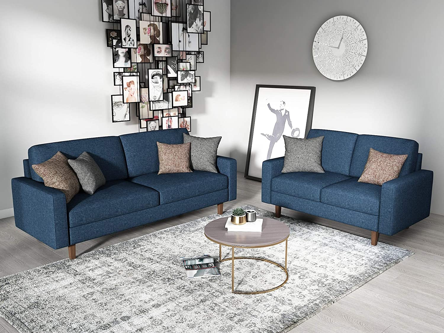 Amazon com container furniture direct s5414 2pc squared mid century modern upholstered 2 piece living room sofa set dark blue kitchen dining