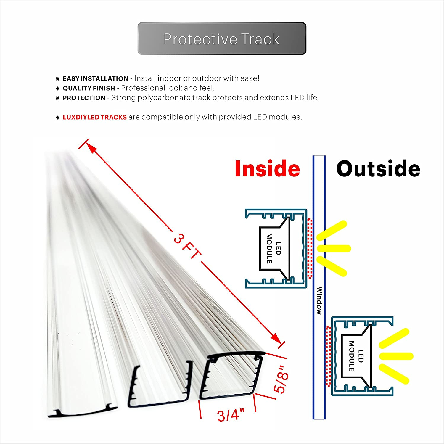 Storefront Window Led Lights Kit With Protective Tracks Module Wiring Diagram For Indoor Outdoor Plug In Light White 25ft Garden