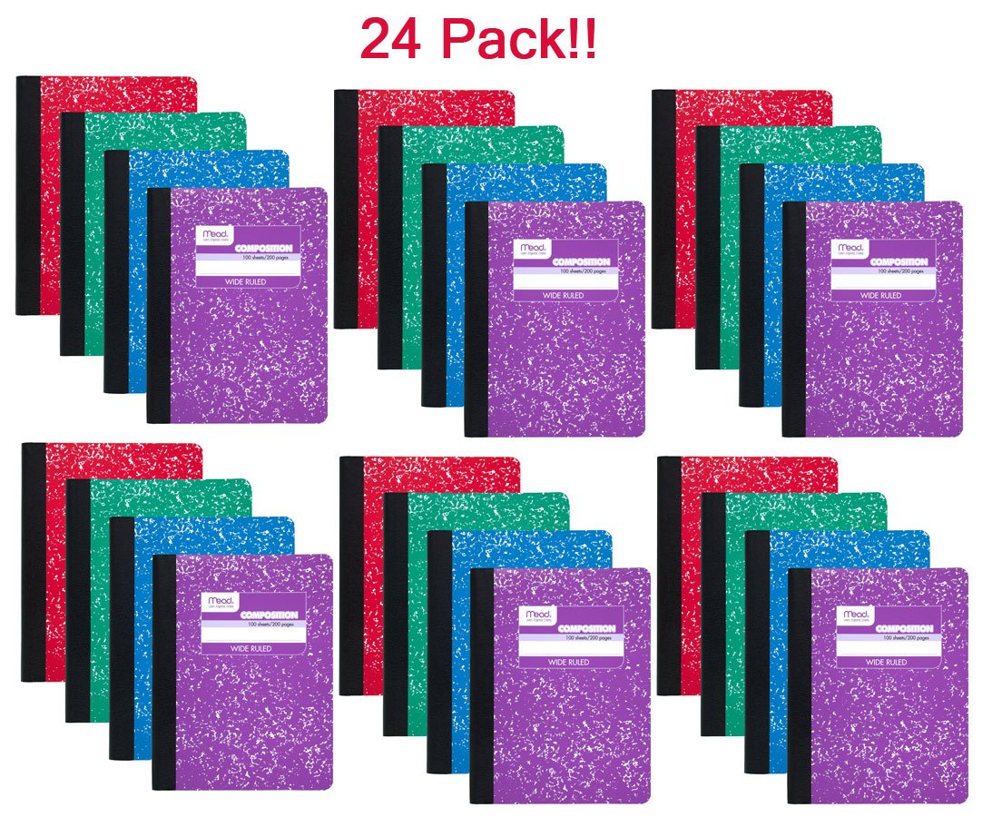 Mead 09918 Composition Book, 100 sheets, wide ruled, assorted colors - 24 pack by Mead
