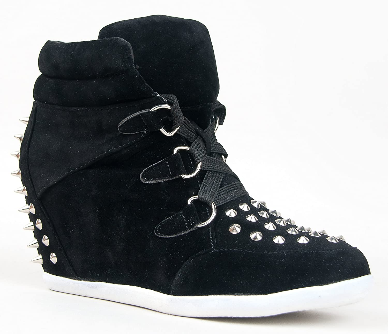 2f96ee124 Glaze Women's Synthetic Alana-57 Studded Spike Lace Up High Top Hidden  Wedge Heel Sneaker Shoe 9 B(M) US Black: Amazon.co.uk: Shoes & Bags
