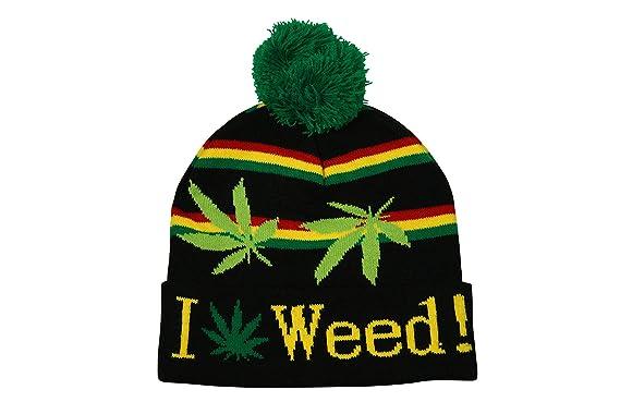 c157c7558c0 Turn Up Bobble Beanie Hat I Love Weed Pom Pom Leaf Rasta Stripes in Black   Amazon.co.uk  Clothing