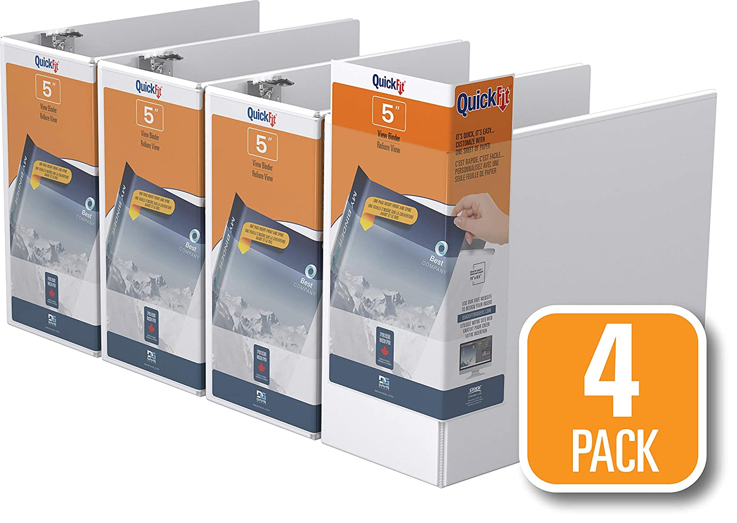 87001-06 6 Pack 5//8 Angle D Ring Black QuickFit View Binder