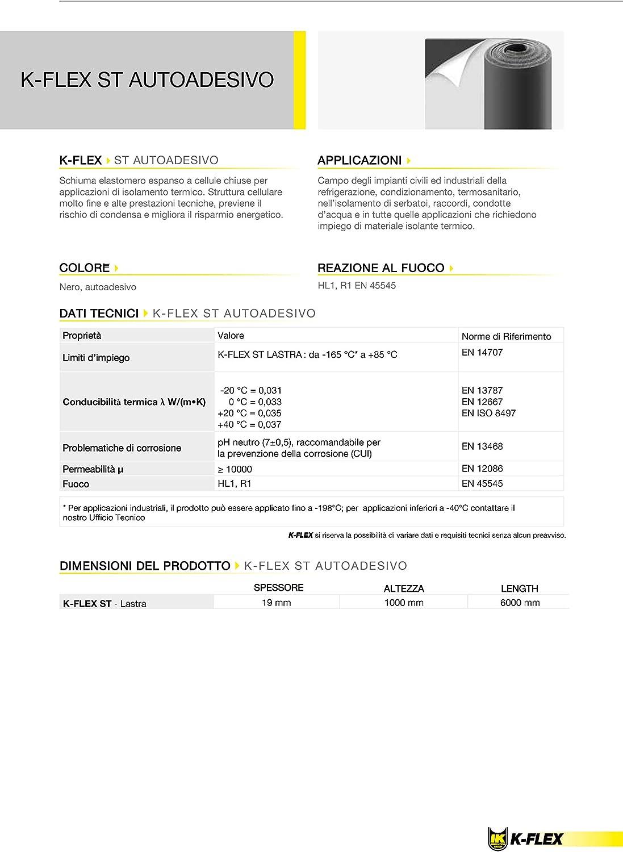 K-Flex ST Plancha 19 mm 6m² Autoadhesivo (cf. Armaflex, Kaiflex) 6 qm Aislamiento de Automóvil, Aislamiento de la Caja del Obturador
