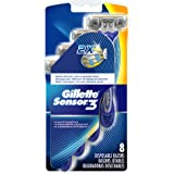 Gillette Sensor3 Smooth Men's Disposable Razors, 8 count