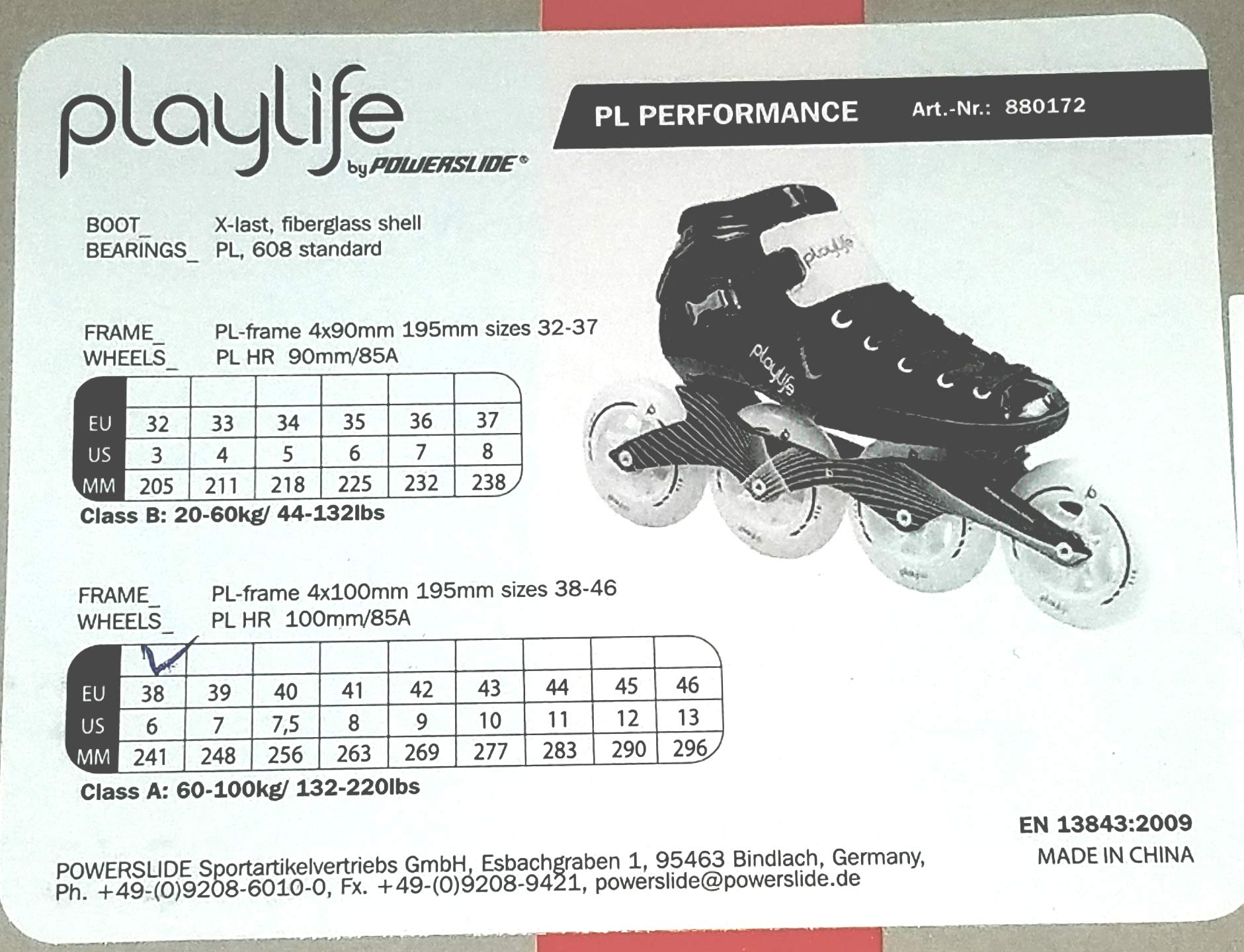 Playlife Youth Powerslide Performance Inline Speed Skates - Glass-Fiber Heat Moldable (EU 32 / YTH 3)