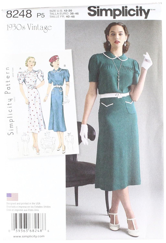 Simplicity pattern 8248P5Misses 'vintage 1930–Cartamodello per abiti da ragazza, bianco, misure 12–14–16–18–20 US8248P5