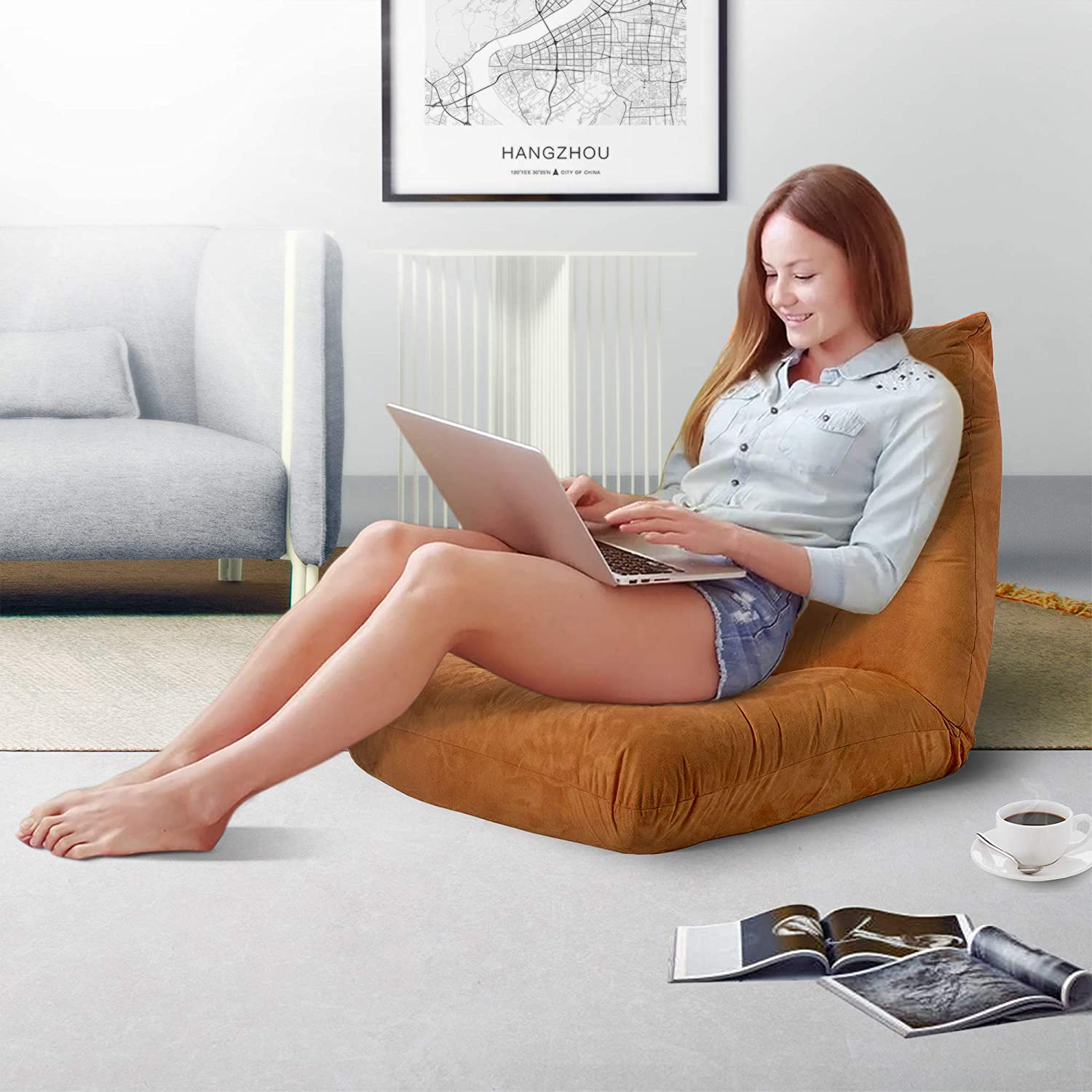Low To Ground Comfy Reading Chair For Small Spaces