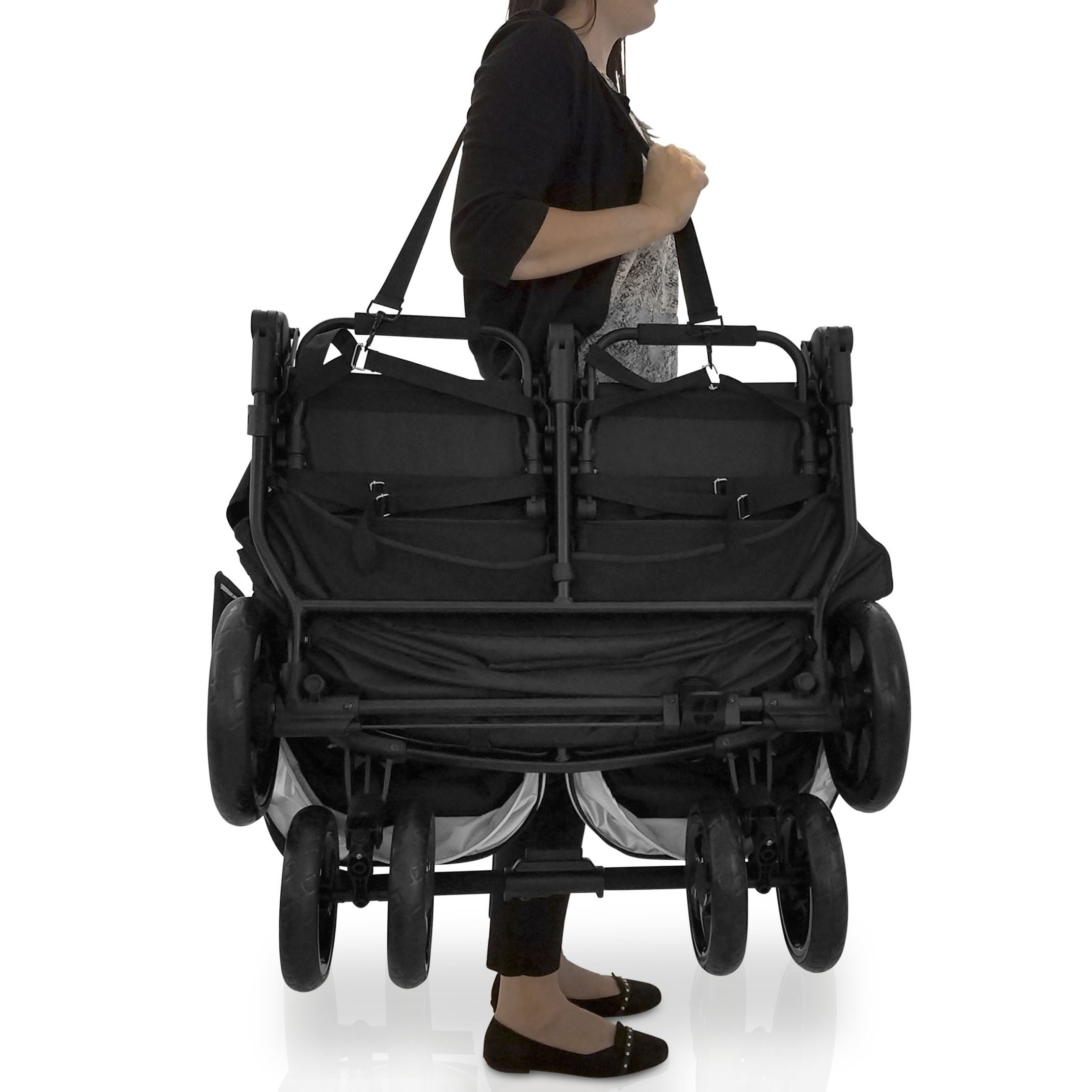 Jeep Destination Ultralight Side x Side Double Stroller, Midnight (Black) by Delta Children (Image #9)