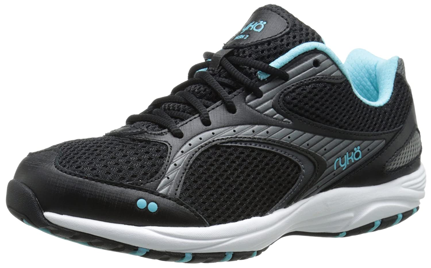 Ryka Women's Dash 2 Walking Shoe B00TJ62R84 10.5 W US|Black/Metallic Iron Grey/Winter Blue/White